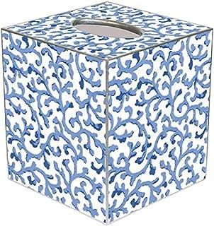 Blue Waverly Scroll Paper Mache Tissue Box Cover