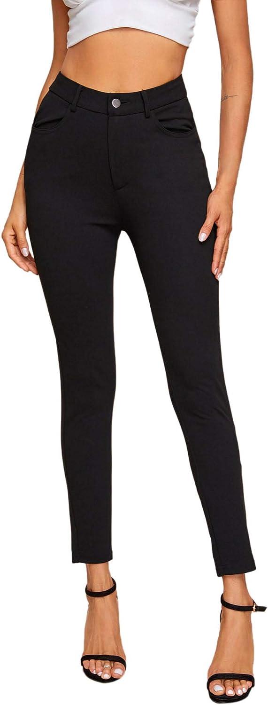 SweatyRocks Women's Basic Leggings Stretchy Slim Elastic High Waist Work Pants