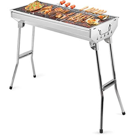 Portable Folding Barbecue Charcoal Grill Stove Stainless Steel Camping C