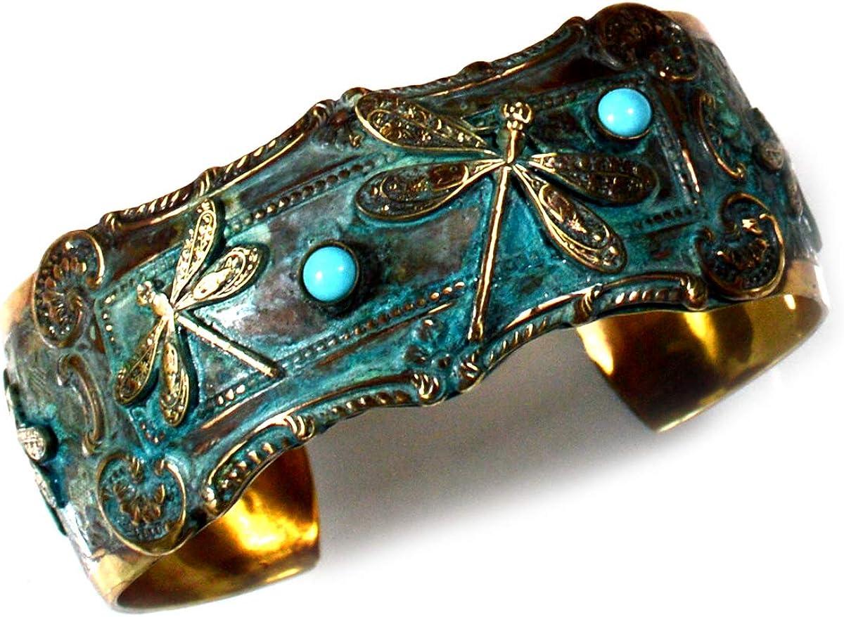 Elaine Coyne Wearable Art Patina Brass Dragonflies Cuff Bracelet - Turquoise