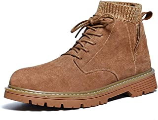 XinQuan Wang Ankle Boots for Men High Top Shoes Lace up Round Toe Suede Short Tube Socks Collar Anti-Slip Stitch (Plush Lined Optional) (Color : Brown, Size : 6 UK)