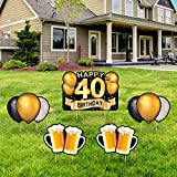 Yangmics Direct 40th Birthday 1981 - Outdoor Lawn Sign - Yard Sign - 5 Piece -Black Gold
