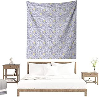Lotus Wall Tapestry Hand Drawn Flowers with Contour Petals Blossoming Nature Themed Illustration Home Decorations for Bedroom Dorm Decor 51W x 60L INCH Purple Grey Yellow