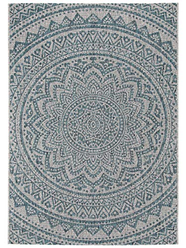 Benuta In- & Outdoor-Teppich Cleo Beige/Blau 240x340 cm - Outdoor-Teppich für Balkon & Garten