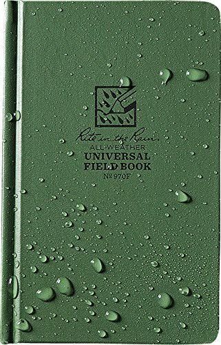 """Rite in the Rain Weatherproof Hard Cover Notebook, 4 3/4"""" x 7 1/2"""", Green Cover, Universal Pattern (No. 970F)"""