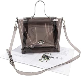 Dark Semi-Transparent PVC Stylish Purse Clear Handbag Shoulder Bag with Strap and Handle