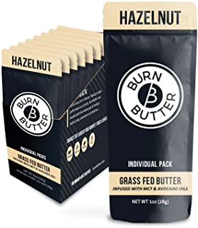 Burn Butter Keto Coffee Creamer Packets with MCT Oil and Grass Fed Ghee Butter - Ketogenic - Liquid - Sugar Free Hazelnut (8 Count)