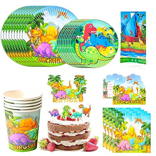 Amycute 110pcs 20 Invitados Juego de Dinosaurio Vajilla de Papel Diseño Dinosaurio Cubiertos de Verde Platos Vasos para Tema Forestal Baby Shower Fiesta de cumpleaños Infantil