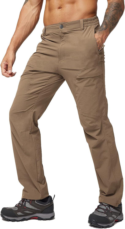 新作 人気 MIER Men's Outdoor Hiking 休日 Pants Pan Ripstop Nylon Stretch Travel