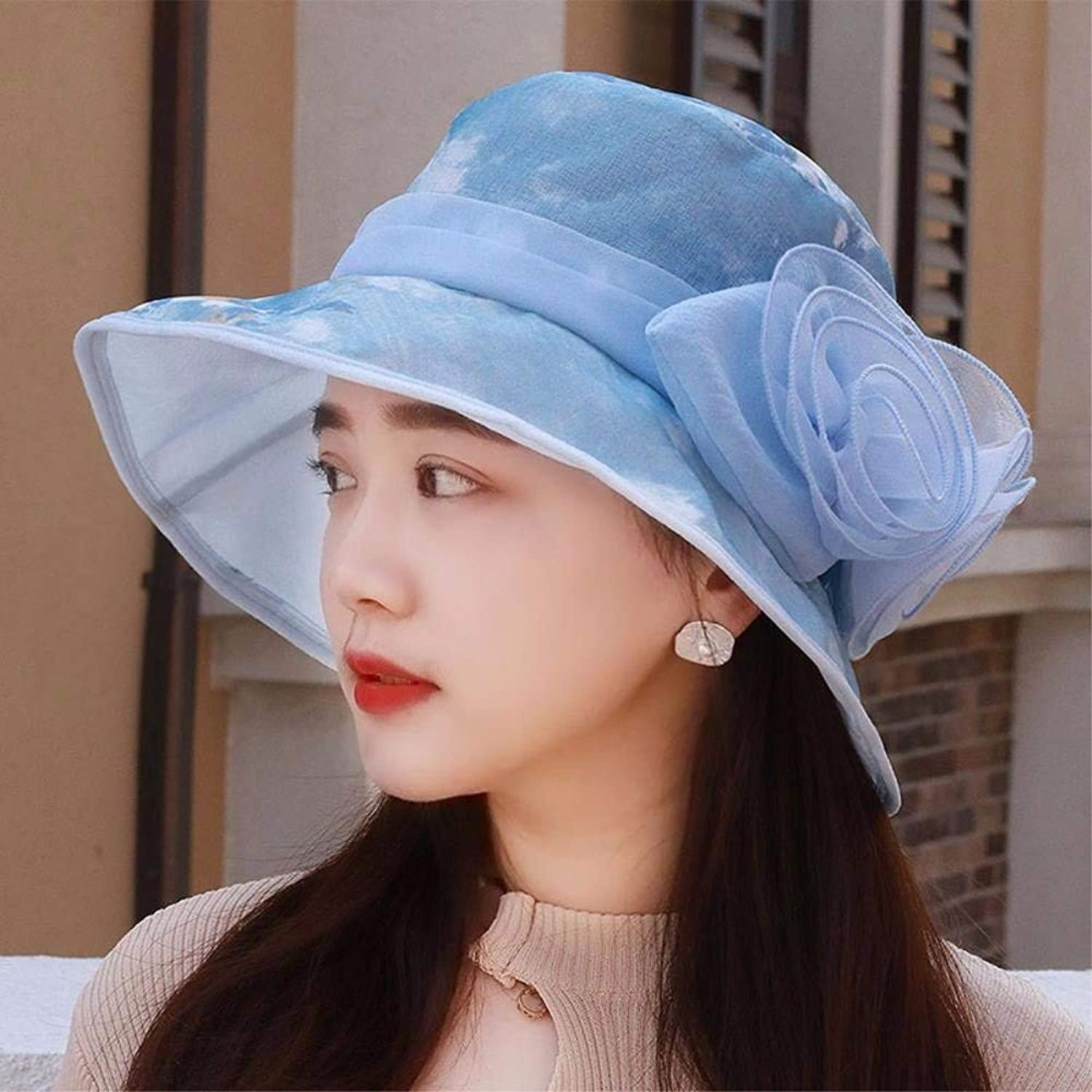 Beach Hat Hat The Girl Ink Painting Printing and Dyeing Yarn Woven hat Snow Cap Graphics face Small Visor Hats Sun Beach Cap Mother Cap Summer Sun Hat (color   The blueee)