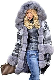 Women Hood Coat Faux Fur Thicken Lined Overcoat Winter Camo Plus Size Jacket Snow Parka Outwear