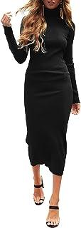 Auxo Vestido Negro a Punto Cuello Alto Suéter Larga Elegante Clásico para Mujer Jerséy para Otoño Invierno Fiesta Cóctel N...