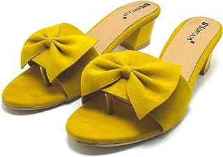BK DREAM Trendy Latest Block Heel for Girls and Women Stylish Casual Sandal (mustard)