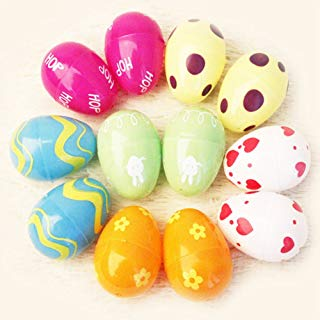 GlobalDeal 12Pcs Mix Colored Plastic Empty Easter Eggs Home Decoration Children Toy Gift - Random Color