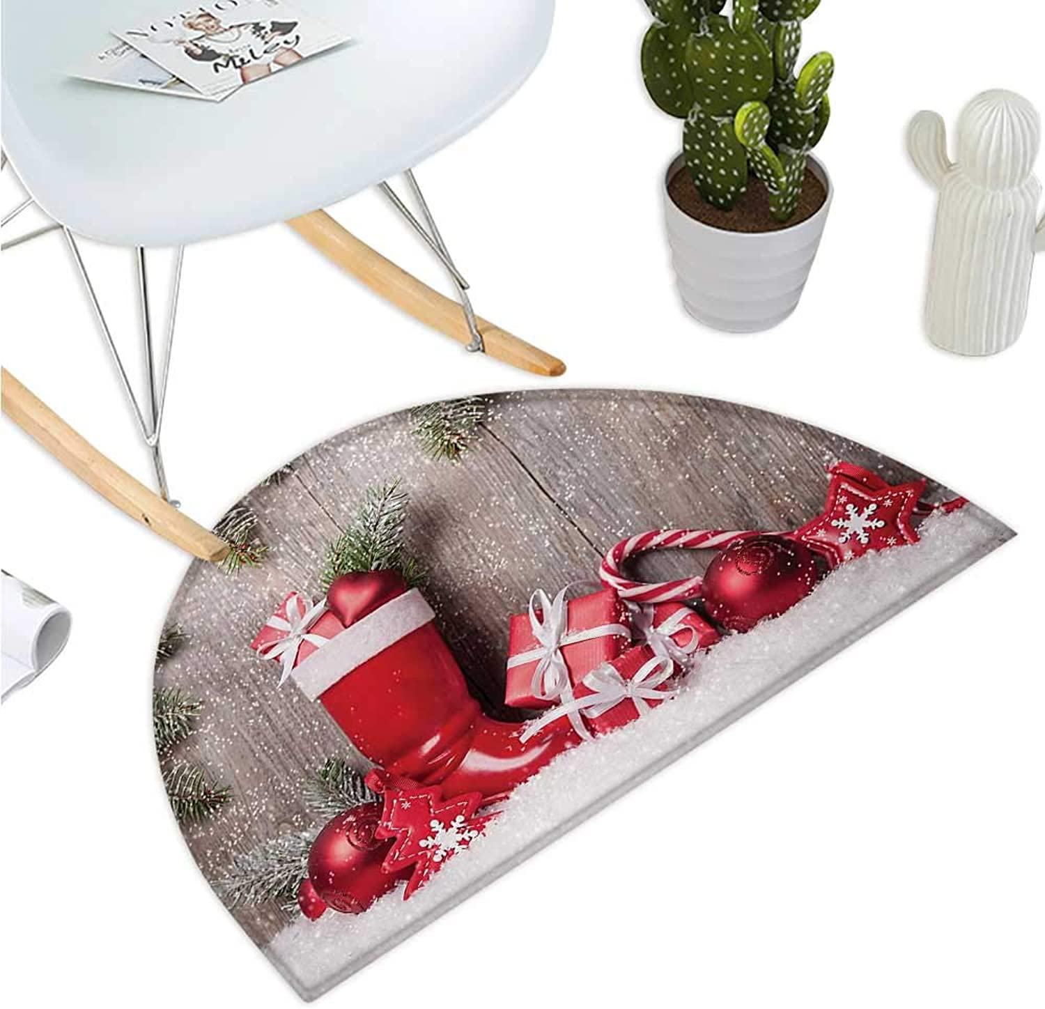 Christmas Semicircle Doormat Xmas Background with Gift Boxes on Wooden Board Countryside Celebration Image Halfmoon doormats H 39.3  xD 59  Brown Red