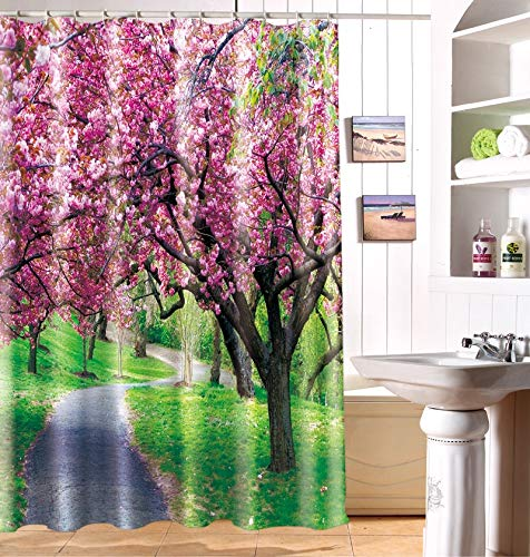 JZDH Shower Curtain for Bathroom Tree Full Of Red Flowers Pattern Shower Curtain, Digital Printing Waterproof Shower Curtain With 12 Hooks