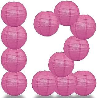 Paperlanternstore.com 12 Pack - 12 Inch Fuchsia/Hot Pink Crisscross Ribbing, Hanging Paper Lantern Combo Set