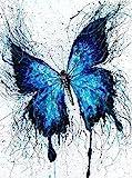 1000 Piezas de Rompecabezas de Madera Juguetes educativos decoración del Arte de la Pared del hogar Black Blue Butterfly Puzzles Art DIY 75 cm x 50 cm (27,56 x 16,68 Pulgadas)