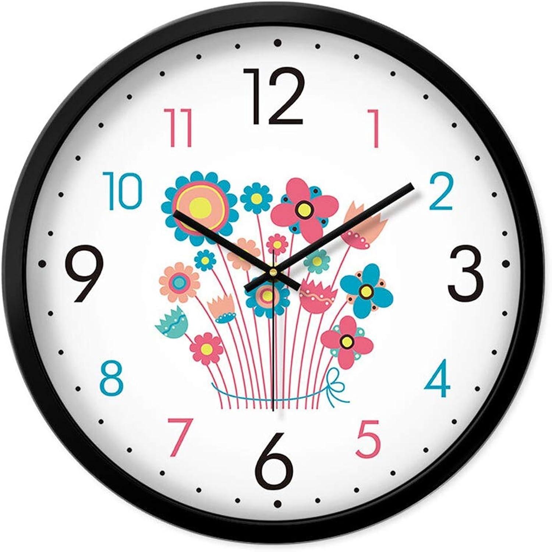 colores increíbles QQB &Reloj Parojo Reloj de Parojo Sin tictac tictac tictac Batería Operado Sala de Estar Decoración Habitaciones silenciosas Hogar Cocina Personalidad Diseo Floral Relojes de Cuarzo Decorativos (Tamao   14in)  despacho de tienda