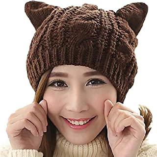 Amberetech Cute Woollike Knitted CAT Kitty Ears Women Lady Girl Headgear Crochet Hats