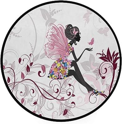 Papillon Fille Laisse Tapis Rond pour Salon Diamètre de la Chambre à Coucher 36.2 Pouces (92cm)