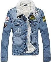 AvaCostume Men's Winter Fleece Lined Patch Denim Jacket Coats
