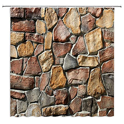 BOYIAN Rustic Stone Wall Shower Curtain Natural Rock Brick Wall Urban Country Town Slate Marble Farmhouse Fabric Bath Curtains Bathroom Accessories Polyester with Plastic Hooks 71x88 Inch