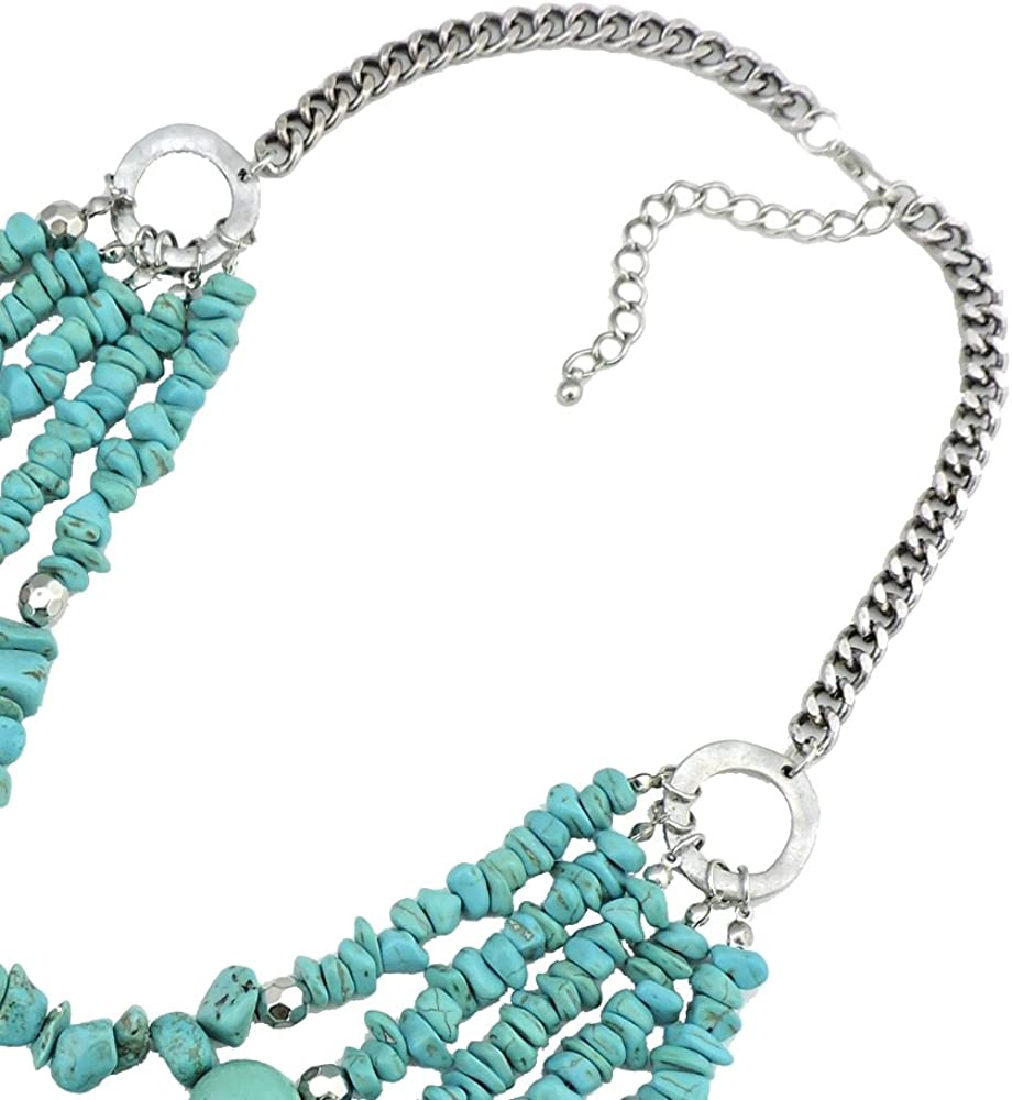 BOCAR Personalized Layered Turquoise Chunky Pendant Necklace for Women Gifts (NK-10274)
