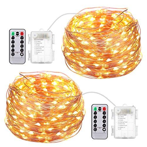 Criacr Lichterkette Batterie, 5M 50 LED Lichterkette Außen, 2 Stück Kupferdraht Lichterkette Weihnachtsbaum mit 8 Modi, IP65 Wasserdich, Fernbedienung und Timer, Warmweiß