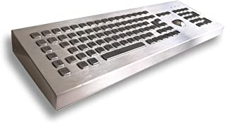 Desktop Stainless Steel Keyboard with Mechanical Trackball and Numeric Keypad (38mm) - 103 Keys - USB or PS2