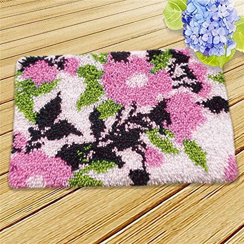Handmade DIY Handarbeit Sets Häkeln Garn Matte Latch Haken Teppich Kit, Bodenmatte Teppich Set Blumen Kinder Zimmer Teppich Geschenk (Color : C)