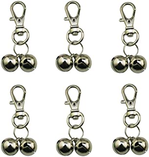 Lebbeen 6 x Twin Silver Handbag Purse Keys Theft Pickpocket Dipping Holiday Twin Security Alarm Bells Attachment (Silver)
