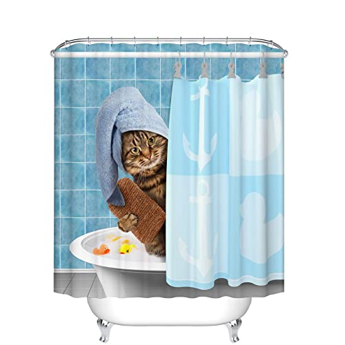 Fangkun Animals Funny Kitten Cat Bathing Decor Bathroom Shower Curtain 3D Printing