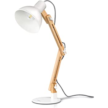 Tomons Swing Arm Desk Lamp, Wood LED Table Lamp, Reading Lights for Office, College Dorm, Living Room, Bedroom, Study, Bedside Nightstand Adjustable Lamp with 4W LED Bulb - White
