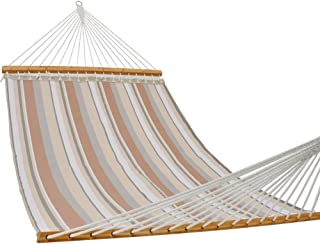 PATIO GUARDER 14 FT Portable Hammock with Double Size, Quick Dry Hammock with Solid Bamboo Spreader Bar and Chains, Outdoor Patio Yard Beach Hammock, UV Resistance, 450 Lb Capacity, Stripe Multicolor