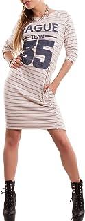 Toocool - Vestito Donna Abito Miniabito maximaglia Sport Righe Cotone Tasche Nuovo CC-1203