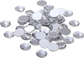 Nizi Jewelry Clear Color Round Shape Acrylic Rhinestones Flatback Earth Faceted Strass Gems 3D Nail Art Decorations Craft Art Accessories 25MM 200PCS