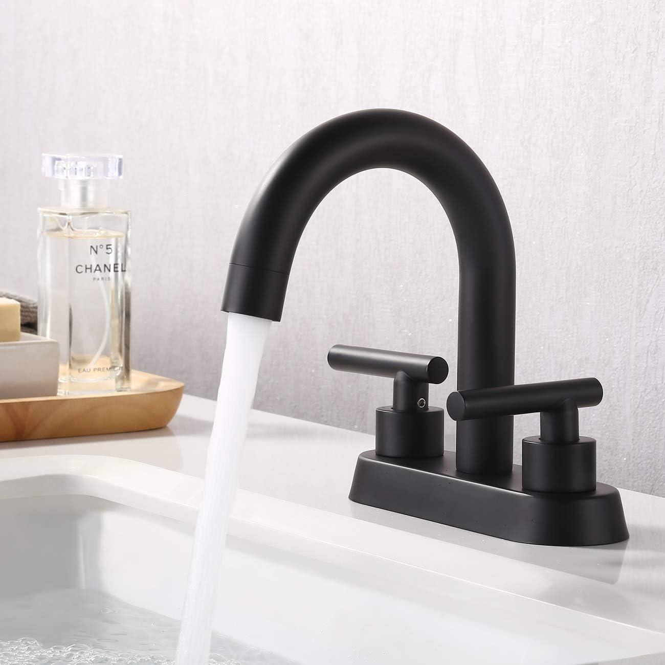 KES Matte Black Bathroom Faucet Modern 20 Inches Centerset Vanity Sink  Faucet Brass, Sink Drain Not Included, L20117LF BK