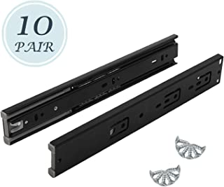 10 Pair of 12 Inch Hardware Ball Bearing Side Mount Drawer Slides with Black Finish, Full Extension, Available in 12