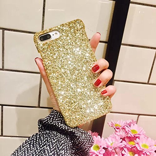 Ysimee Compatible con iPhone 7 Plus/8 Plus Cover,Fundas Transparente Silicona Brillo Bling Brillante Duro Ultra Fina Delgado Gel Bumper TPU Goma Protectora Carcasas -Golden