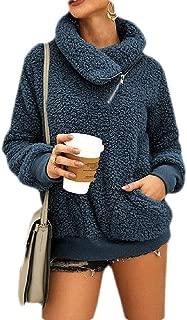 Macondoo Womens Pullover Plus Size Turtleneck Thicken Winter Fleece Sweatshirt