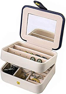 Travel Jewelry Box Double Layer Jewellery Organizer Small Size Storage Case with Mirror for Ring Ear Stud Necklace Birthday