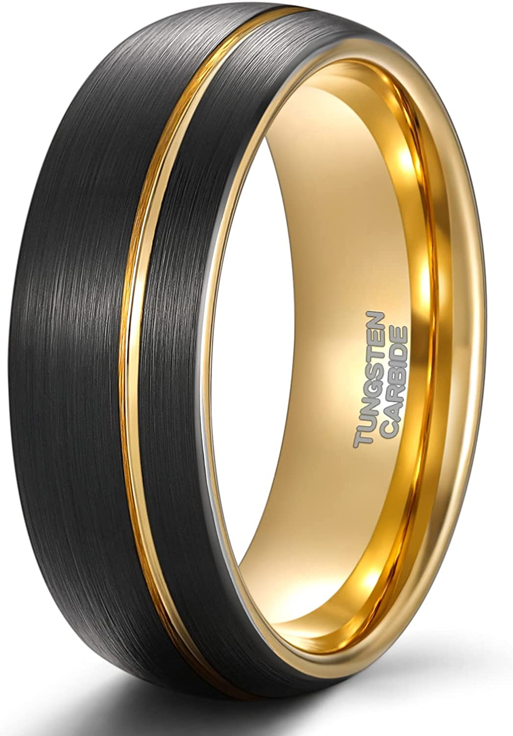 TRUMIUM 4mm 6mm 8mm Mens Tungsten Wedding Rings Black Gold Wedding Band for Women Two Tone Brush Comfort Fit Size 6-13