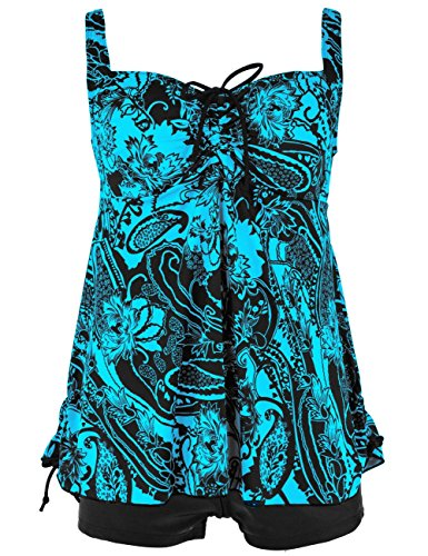 Hilor Women's Retro Pin UP Ruched Skirted Paisley Swimdress Swimsuit Blue 20