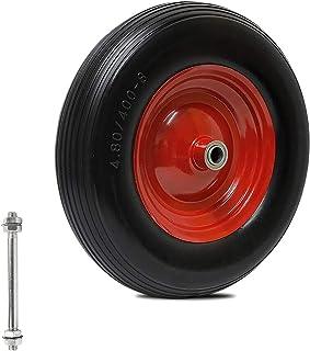 Forever Speed kruiwagen wiel massief rubber PU wiel lekvrij met as 390mm / 350mm kruiwagen reservewiel (390 * 90mm-120KG)