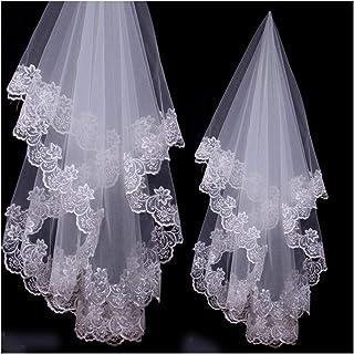 RLYBDL Wedding Accessories Lace Edge Bridal Veils One Layer Bride Veil 2020 (Color : Ivory, Item Length : 120CM)