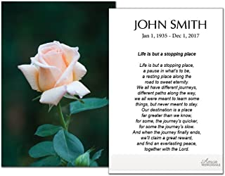 Funeral Memorial Prayer Cards (50 Cards) FPC1160EN Pink Rose (Custom Printed - Select Desired Prayer)