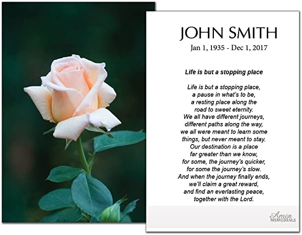 Funeral Memorial Prayer Cards 50 Cards FPC1160EN Pink Rose Custom Printed Select Desired Prayer
