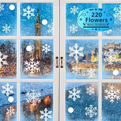 Alintor Deko Weihnachten - Fensterbilder Weihnachten, 220 Stücke Schneeflocken deko Weihnachtsdeko Fenster, Abnehmbare Statisch Haftende PVC Aufkleber für Winterdeko (Kein Kleber)