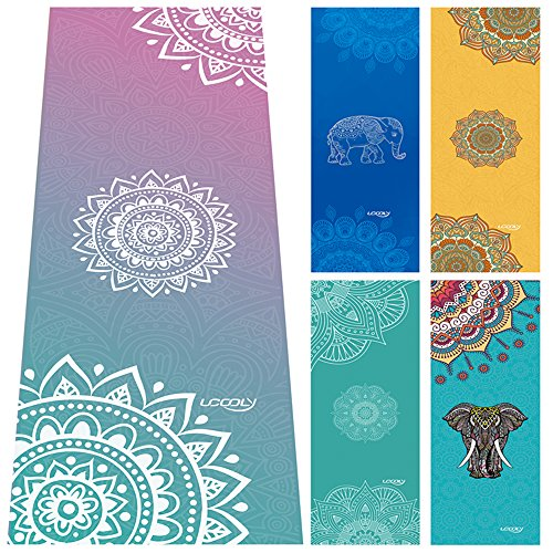 UCOOLY Yoga Towels,Non Slip Mat Towel with Smart Corner Pockets and Elastic Loop,Hot Yoga Towel for...